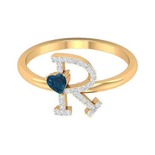 Anillo con inicial R de diamante de 1/4 quilates con topacio azul londinense talla corazón, 14K Oro amarillo, Size:EU 66