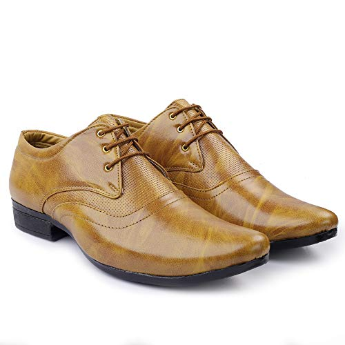 DE LOYON Synthetic Leather Formal Derby Shoes for Men (7, Brown)