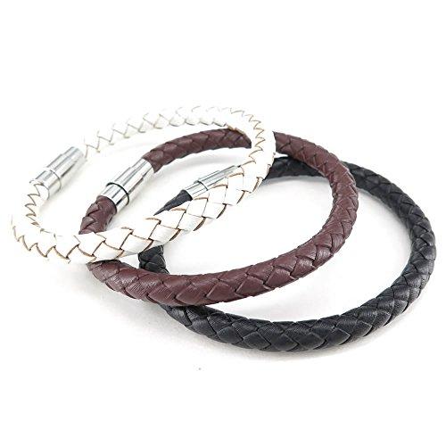 KONOV Jewellery Herren Damen Leder Armband, 3Stück 6mm geflochten Armreif, Magnetverschluss, Schwarz Braun Weiß (mit Geschenk Tüte)