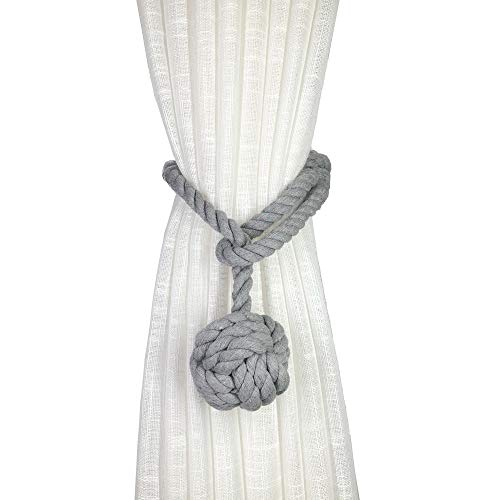 JQWUPUP 4 Pack Rustic Curtain Tiebacks - Decorative Outdoor Drape Drapery Holdbacks Holders - Hand Knitting Cotton Rope Curtain Tie Backs for Sheer and Blackout Curtain (Set of 4, Grey)