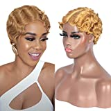 Short Finger Wave Wigs 100% Blonde Virgin Human Hair Mommy Wigs 1920s Flapper Costume Human Hair Wigs for Women (Blonde 27#)