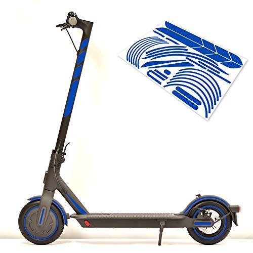 m2medien Aufkleber-Set (30-teilig) Sticker-Set auf 35x24cm Bogen geeignet für Xiaomi Mi Scooter 1S Pro 2 E-Scooter (Blau Reflektierend)
