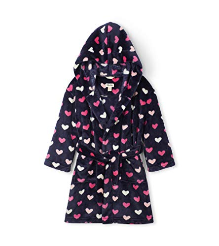 Hatley Fleece Robes Albornoz, Azul (Lovey Hearts 400), Medium para Niñas