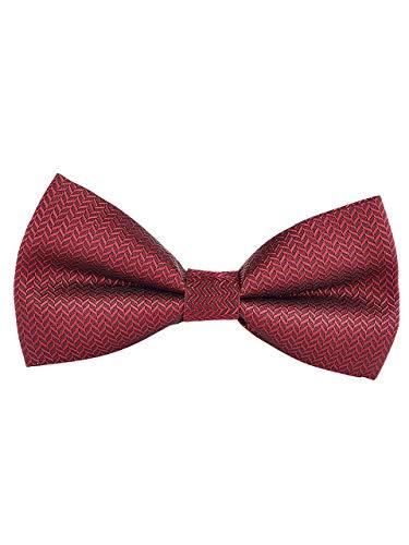 Hombre Clásico Pajarita Ajustable con Cierre de Gancho ya Anudado Formal Casual 12*6 cm - Celosía de Diamante Bordeaux Rojo
