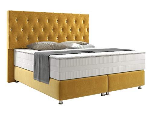 Boxspringbett Webstoff American Style Pearl 180 x 200 cm inkl. Matratze und Topper, Farbe wählen:Gold