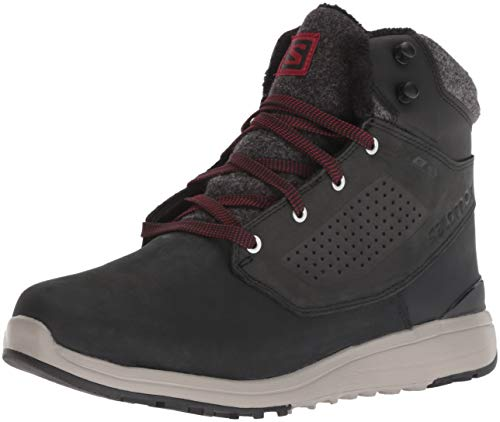 Salomon Men's Utility Winter CS Waterproof Hiking Boot, Black/Black/Red Dahlia, 13 D US