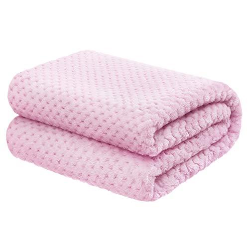 "Baby Blanket for Girls and Boys  30""x40"" Pink  Premium Lightweight Fleece"