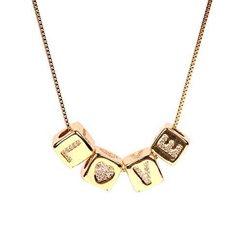 Collar con letrasRubik's Cube Diamond Love Dice Colgante LoveLOVECollar
