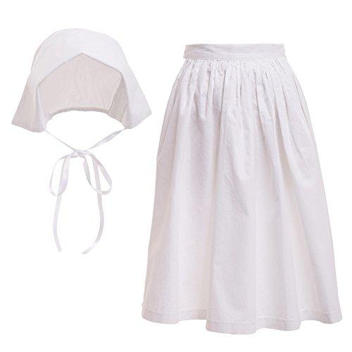 GRACEART 100% algodón Vestido de Traje puritano Colonial de niña peregrino (Bonnet y Delantal, US-12)