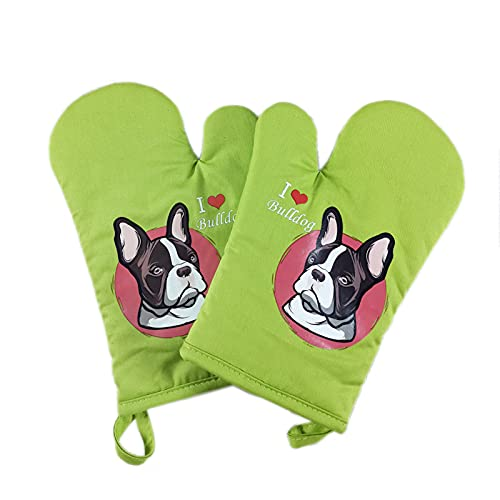 VOMI Cotton Oven Gloves Heat-Resistant, Creative Oven Mitts with Dog Motif, Thick Microwave Mitts with Lanyard, Kitchen Tools for Cooking, Baking, Grilling, 1 Pair,Green