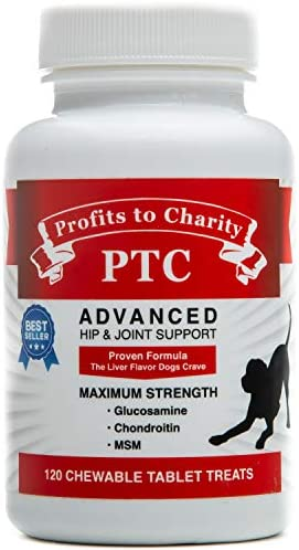 PTC Profits to Charity Glucosamine and Chondroitin with MSM for Dogs - Hip and Joint Support and Pain Relief for Arthritis, Veterinarian Approved, 240 Chewable Tablet Treats