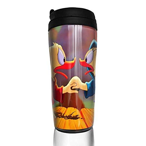Lawenp Donald Duck Wallpapers Kaffeetassen Double Travel Mug Wärmer Becher, Lndividualisierung Kunst Wasserflasche Thermoskanne Kaffeetassen Mit Deckel 12 Unzen (350ml)