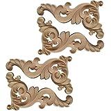 GARNECK 4 apliques de madera tallada de Onlay sin barnizar muebles esquineros...