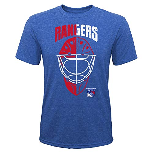 OuterStuff NHL Kinder T-Shirt New York Rangers NY Youth Mask Made Goalie Torwart Eishockey (L (14/16))