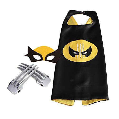 Kit de disfraz de Wolverine para niños, capa de satén de doble cara, garras de Wolverine con máscara de fieltro de lana para fiesta de disfraces