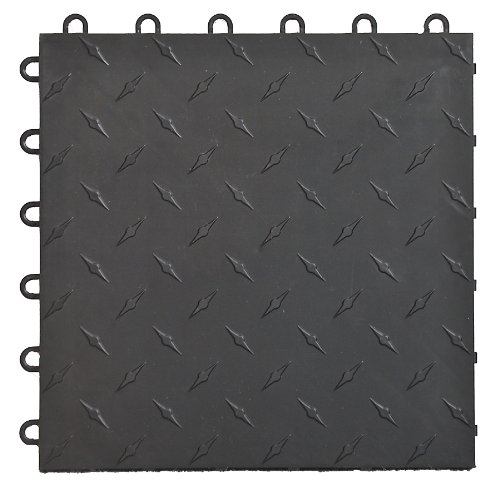 Speedway 789453B-50 Diamond Garage Floor 6 Lock Diamond Tile 50 Pack, Black