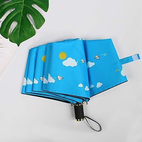 Maria-UK Nueve aviones madera contrachapada pequeña fresca triple plegable UV protector solar vinilo plegable mano apertura paraguas (color: 4)