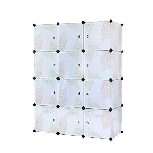 UNICOO - DIY 12 Cube Organizer, Bookcase, Toy Organizer, Storage Cabinet, Wardrobe Closet (Regular, Green Leaves)
