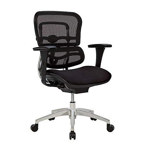 WorkPro 12000 Mesh/Fabric Managerial Mid-Back Chair, Black/Chrome