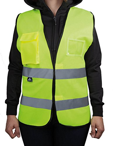 4business Warnweste mit Brusttaschen, fluoreszierend gelb