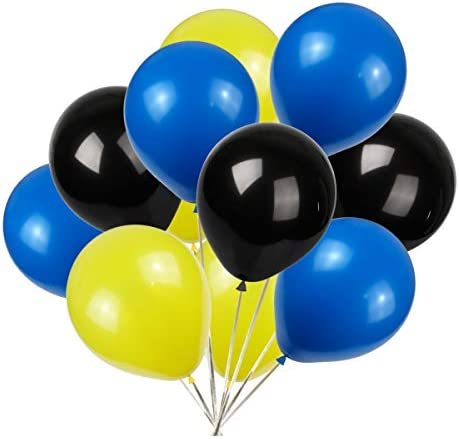 Party Balloons 100 Pack 12 Inch Yellow blue black product image