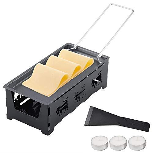 Toruiwa - Raclette queso derretido con vela, set para derretir el queso rápidamente, antiadherente, portátil, bandeja de cocción rotaster con espátula, cocina y parrilla sin electricidad