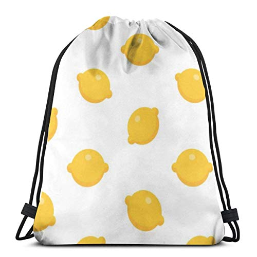 BXBX Trasportare Bags Seamless Pattern With Lemon In Flat Style Drawstring Bag Travel and School Shoulder Rucksack Suitable for Adults and Kids
