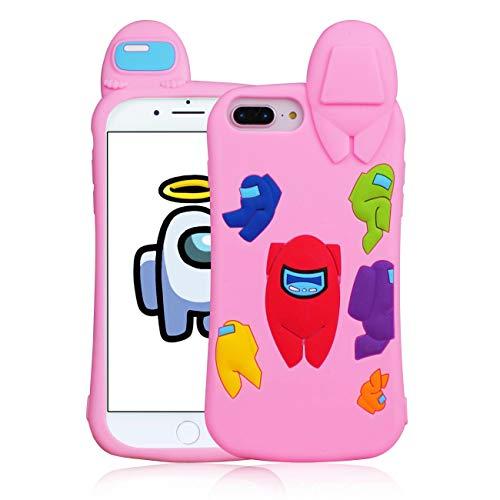 STSNano para iPhone 6 Plus/6S Plus/7 Plus/8 Plus 5.5' Funda - Pink Among, Dibujos Animados Lindo 3D Divertido Kawaii para iPhone 678P Silicona Moda Personaje Casos pere Muchachas Mujeres Juventud