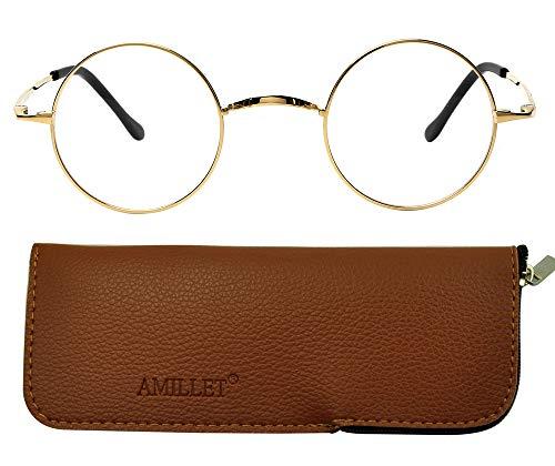 AMILLET Small Round Glasses for Women Men, Retro Circle Lens Titanium Frame...