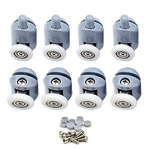 Nsiwem Rodamientos Mampara Ducha 8 piezas Polea para mampara de ducha Ruedas Rodamientos para raíles para Puertas Correderas para puerta corredera de cristal baño 23mm