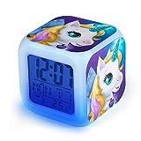 Sveglie Unicorno Digitali, Comius Sharp Sveglie da Comodino con Wake-up Light con Tempo 12/24 Ore,...