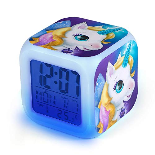 Sveglie Unicorno Digitali, Comius Sharp Sveglie da Comodino con Wake-up Light con Tempo 12/24 Ore, Data, Temperatura, Funzione Snooze, Wake-up Sveglia Unicorno con Luce Notturna per Bambini (A)