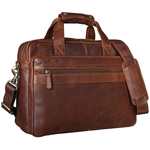 STILORD 'Adventure' Lehrertasche Herren Damen Aktentasche Office Büro Schulter- oder Umhängetasche Businesstasche für Laptop Leder, Farbe:Cognac - Dunkelbraun