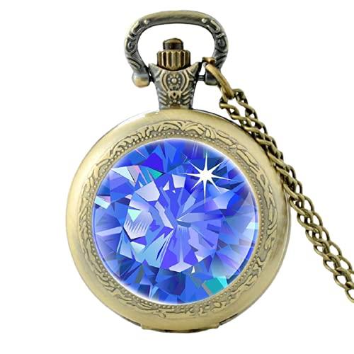 Reloj de bolsillo de cuarzo vintage patrón de zafiro único hombres mujeres colgante collar horas reloj