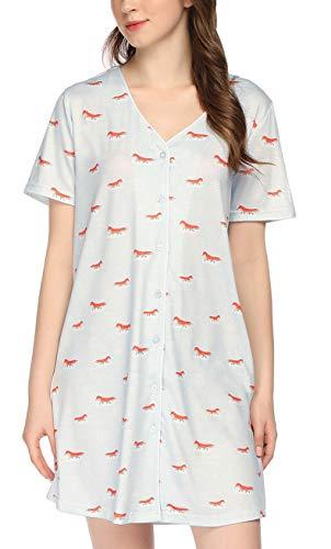 ADOME Still nachthemd voor dames, geboorte, borstvoedingsnachthemd, moederschap, zwangerschap, nachtkleding, kort, zwangerschapsmode met doorlopende knoopsluiting, geboortehemd voor zwangere vrouwen
