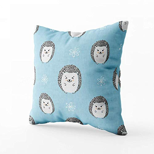 N\A Indoor Outdoor Pillows Covers, Cute Watercolor Hedgehogs Kids Square Pillowcase Couch Sofa Inch Throw Cushion Cover