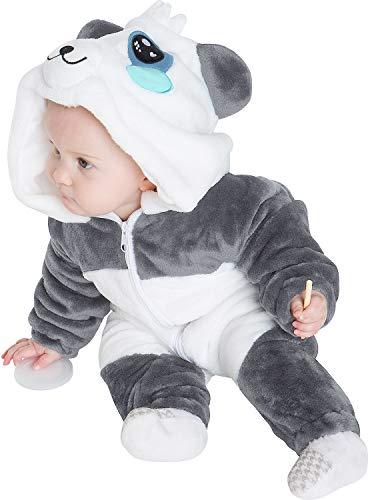 corimori 1850 MEI der Panda Baby Neugeborenen Onesie Jumpsuit Strampler Anzug Kostüm Verkleidung (70-90 cm), Grau Weiß