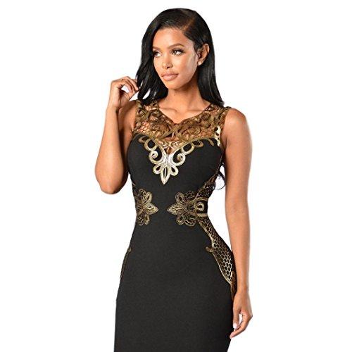 Ninasill Women Lace Bodycon Dress Slim Sleeveless Dress, Beautiful Evening Party Cocktail Pencil Mini Dress (M, Black)