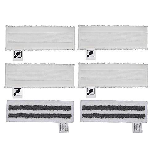 Juego de 4 paños de microfibra blanca DEYF + 2 paños abrasivos de microfibra gris para boquilla de piso Kärcher EasyFix SC2 SC3 SC4 SC5