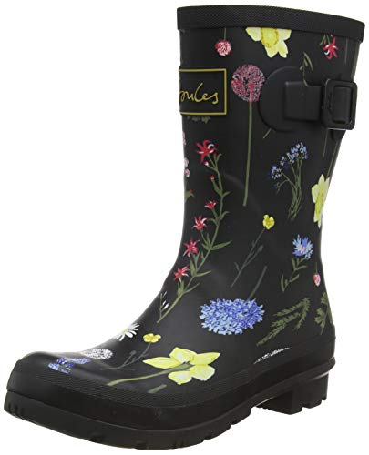 Joules Damen Molly Welly Gummistiefel, Schwarz (Black Floral Blk Floral), 38 EU