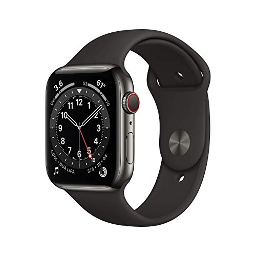 Apple Watch Series 6 (GPS + Cellular, 44mm) - Graphite Stainless Steel Case with Black Sport Band (Renewed)