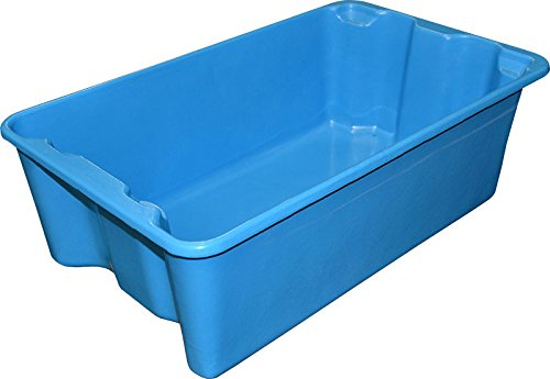 """Toteline 7805085268 Nest and Stack Container, Glass Fiber Reinforce Plastic Composite, Capacity 300 lb, 24.5"""" x 14.75"""" x 8"""", Blue"""