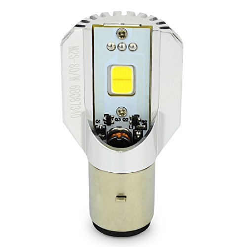 Faro delantero para motocicletas y escúteres, cruce/carretera 12 W, LED, alta luminosidad, 12 V, 6 W x 2 chips integrados M2S-BA20D