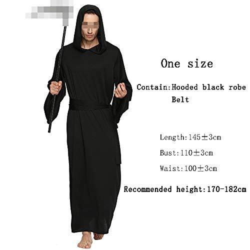 Halloween duivel zwart gewaad kostuum, tovenaar tovenaar dood duivel volwassen kind kostuum Fancy bal partij prestaties