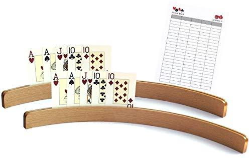 Ludomax Holz - Kartenhalter, 50cm (ohne Spielkarten) - Zweierpack inklusive Spielblock
