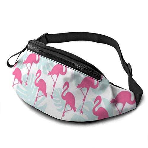 XCNGG Bolso de cintura corriente bolso de cintura de ocio bolso de cintura bolso de cintura de moda Flamingos Pink with Leaves Fanny Pack Lightweight Waist Pack Unisex Slim Hip Bum Bag with Adjustable
