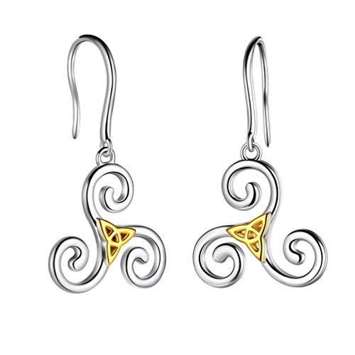 Celtic Triskele Earrings Women 925 Sterling Silver 18K Gold Two Tones Celtic Hoop Earrings Wiccan Irish Jewelry Gift FE0092F