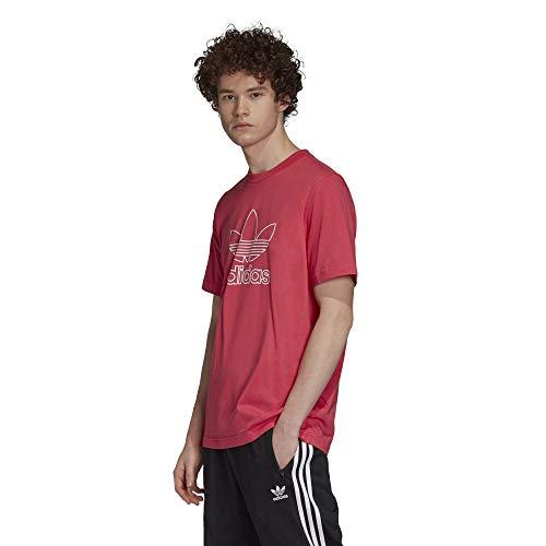 adidas Originals - Camiseta con logotipo de trébol para hombre - rosa - X-Small