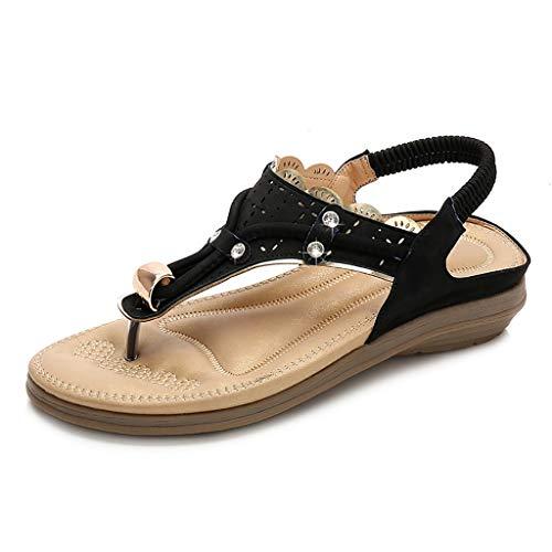 Sandalen for Damen dicke Boden weich t-Gurt fest Strass Sandalen Schlauchschelle Füße öffnen Zehensandale mit elastischem weichem elastischem beiläufigem Strandschuh elegant