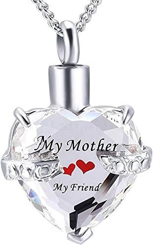 Collar Joyería de recuerdo Piedra de nacimiento Corazón Collar de ceniza Urna Memorial Recuerdo Colgante Joyería de cremación de acero inoxidable